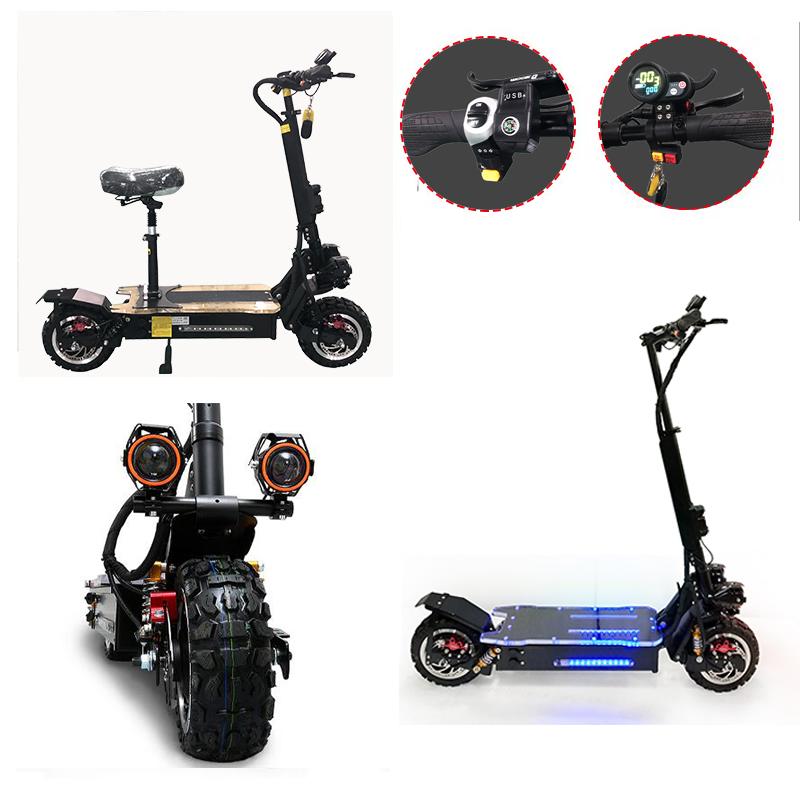 60V3200W Elektrische Roller 11 zoll Off Road 80 KM/H Batterie Elektrische Motor Erwachsene kick e roller falten patinete electrico adulto