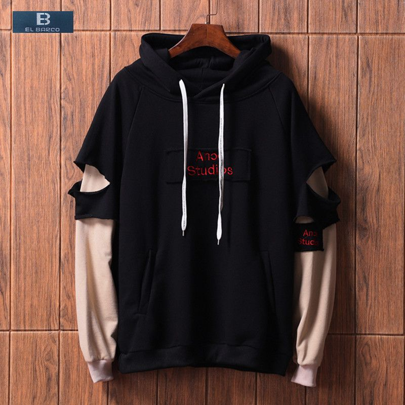 [EL BARCO] New Fashion Cotton Sweatshirts Men Young Autumn Letter Warm Casual Hoodies Black Khaki Yellow Male Soft Pullover Tops