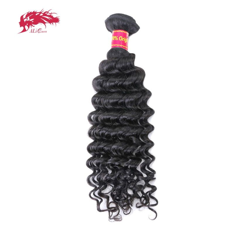 Ali Queen Hair Products Deep Wave Virgin Brazilian Hair Bundles Natural Color 12