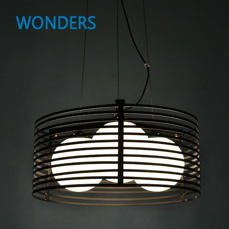 Nordic Style Hollow-out Vintage Pendant Lamp Retro Industrial iron and glass Light Round Bar Dining Room Lamp Loft Light E27