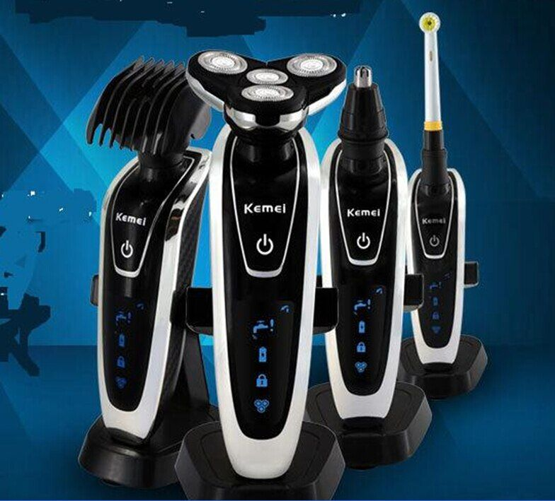 4 head Washable men Electric Shaver Triple Blade Shaving Razor mustache trimmer man beard grooming shave nose hair clipper cut