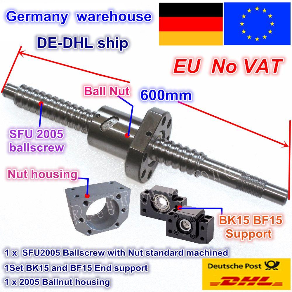 DE kostenloser MEHRWERTSTEUER RM/SFU2005 Kugelumlaufspindel Kit L 600mm/L 800mm ende bearbeitet mit mutter & BK/BF15 Unterstützung & Mutter gehäuse für CNC Router