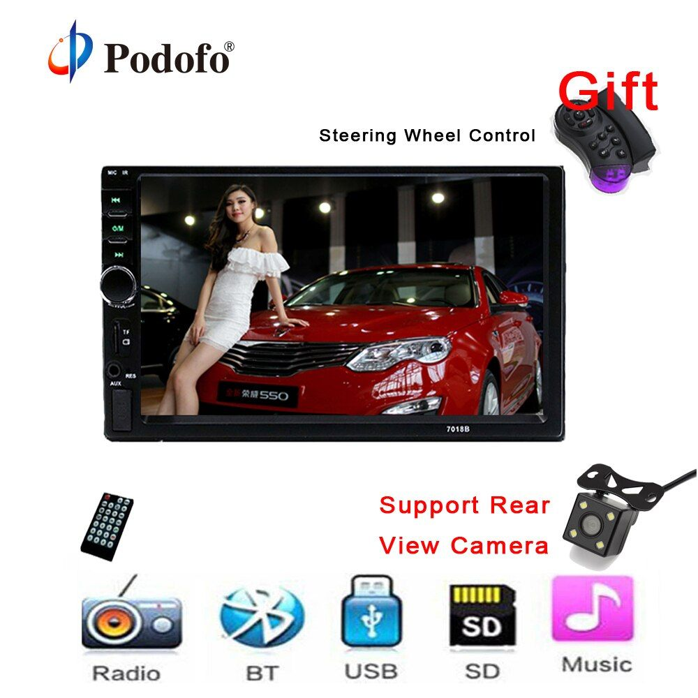 Autoradio 2 Din General Car Models 7'' inch LCD Touch Screen Car Radio Player Bluetooth Car Audio Support Rear View Camera 7018B