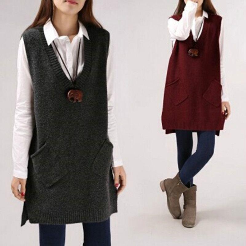 Wool Cardigan Sleeveless Blazer Collar 2018 Spring Autumn Long Vest Waistcoat Female Women Outwear Longline Jacket Pocket Coat