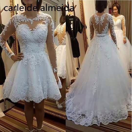 Vestido de noiva Sexy Back Long Sleeves 2 in 1 Wedding Dress with Pearls Decoration 2018 Luxury Wedding Gowns