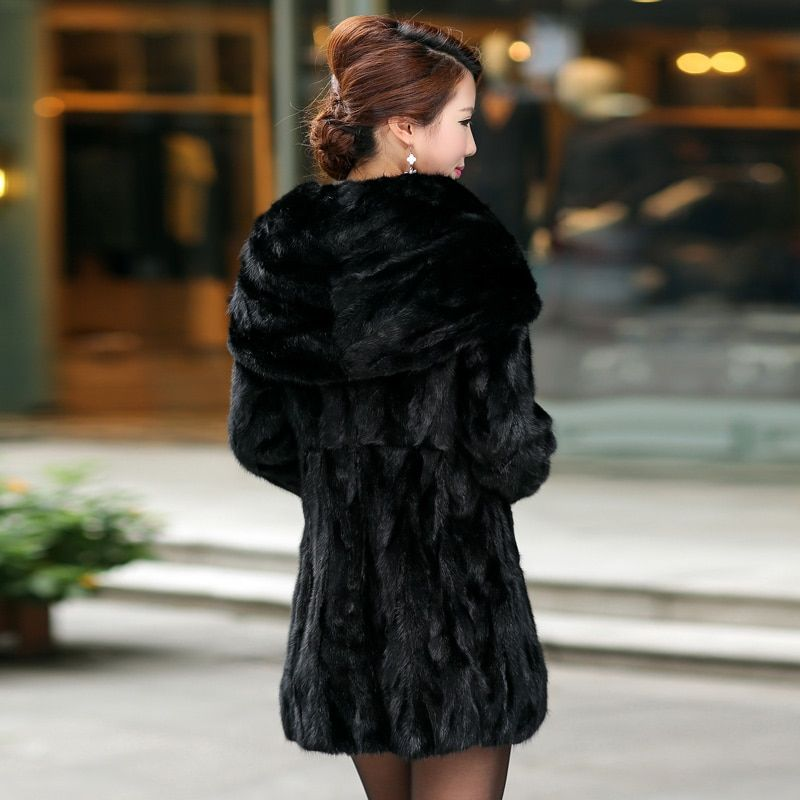 Real Piece mink fur coat with hood Women's Genuine leather Fur coat Ladies' Natural Mink Fur Jacket Coat