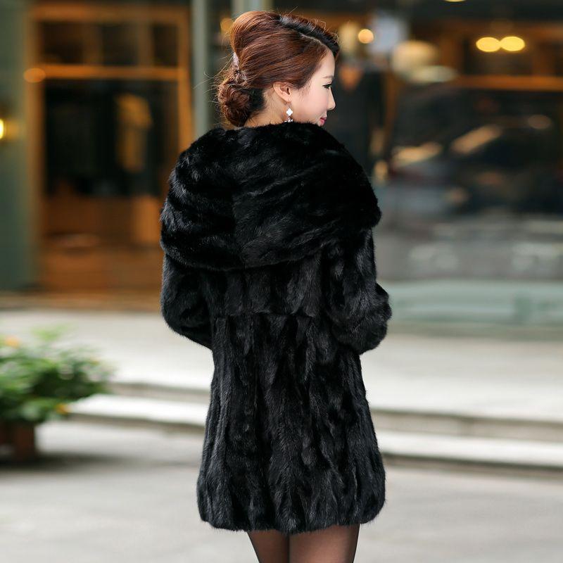 Real Piece mink fur coat with hood Women's Genuine leather Fur coat Ladies' Natural Mink Fur Jacket Coat