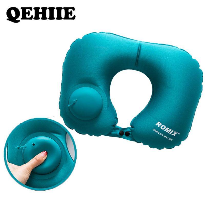 Oreiller gonflable 4 pc/s set voyage oreiller cervical u-type oreiller gonflable automatique pliant Portable accessoires de voyage