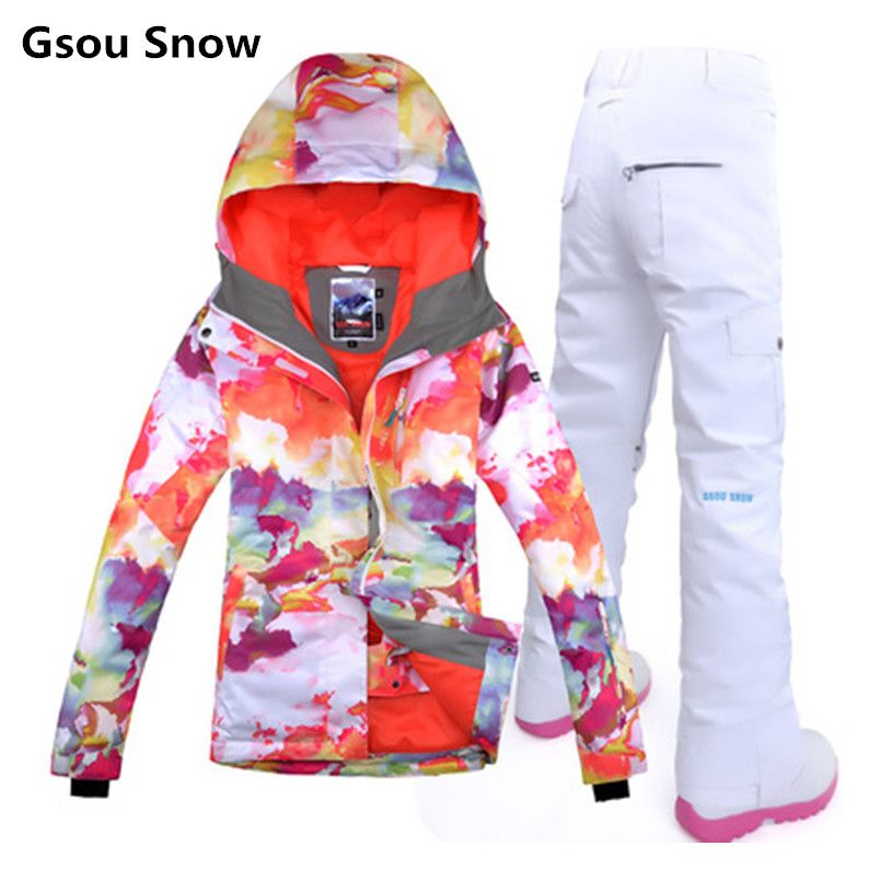 Gsou womens ski suit female snowboard suit wintersport skiing jacket snow pants women tablas de snowboard veste ski clothing