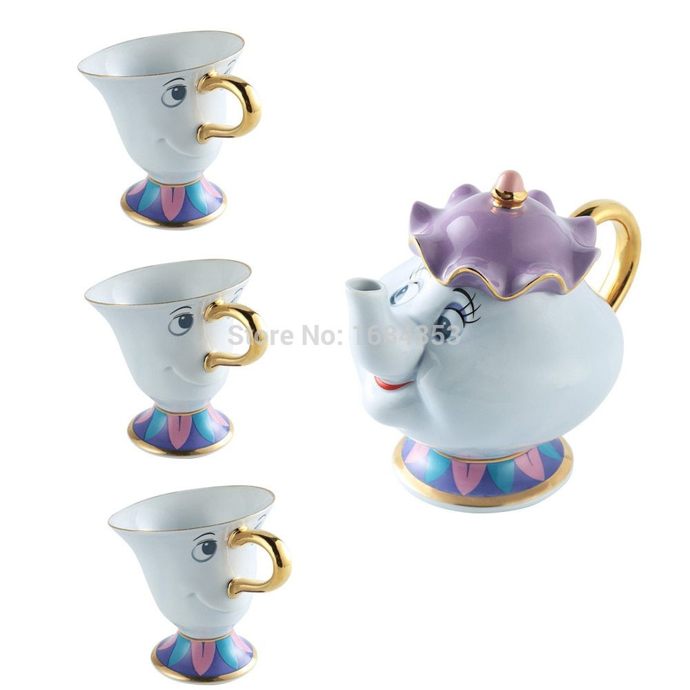 Dessin animé la belle et la bête Mrs Potts puce café thé Set Pot tasse tasse [1 POT + 3 tasses] porcelaine 18 K plaqué or en céramique cadeau