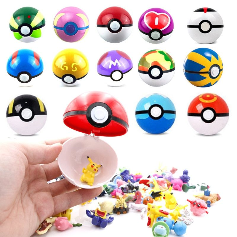 13Pcs/set Pokeball With 1 Piece Random Pocket Monster Inside New Year Gifts for Chidren Mini Pearl Squirtle Pikachu Figure Toys