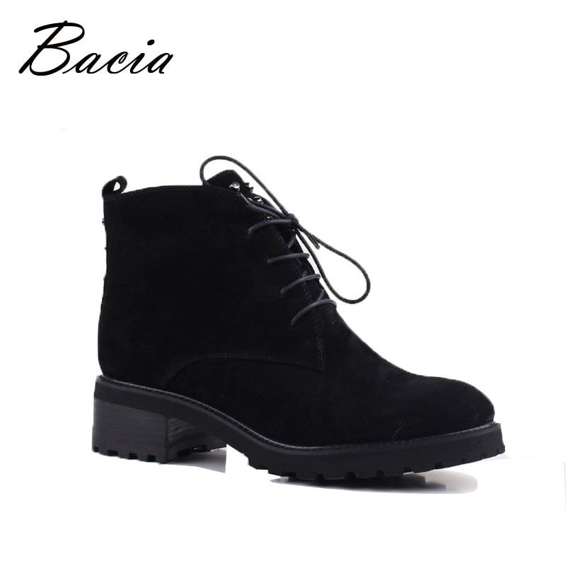 Bacia Sheep Suede Women <font><b>Shoes</b></font> Wool Fur Warm Winter Boots Female Genuine Leather Footwear Ankle Boots Russion Size 35-41 VE001