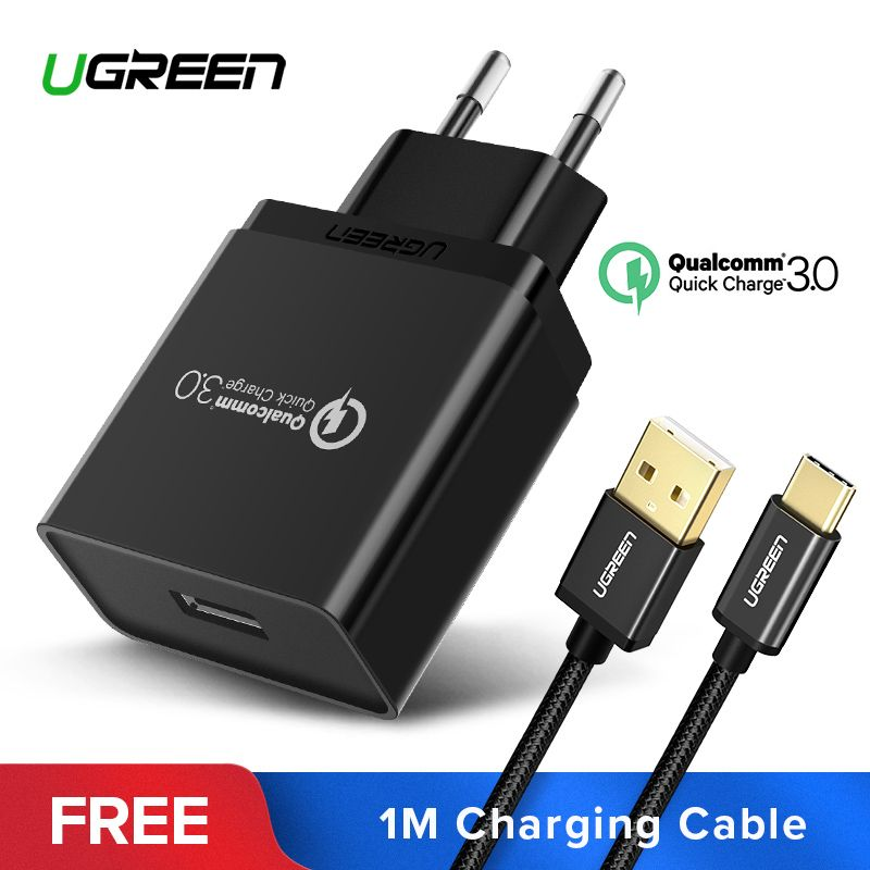 Ugreen USB Charger 18W Quick Charge 3.0 Mobile Phone Charger for iPhone Fast QC 3.0 Charger for Huawei Samsung <font><b>Galaxy</b></font> S9+ S8+