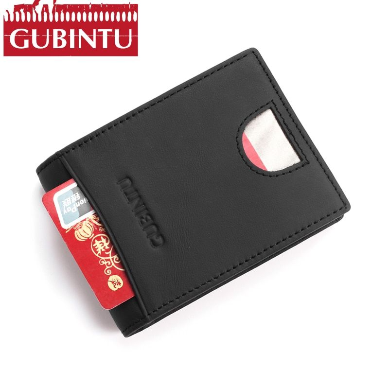 Gubintu Для мужчин Пояса из натуральной кожи зажим для денег RFID Blocking Wallet для мужской плоский кошелек Для мужчин S Передний карман кошелек Portefeuille...