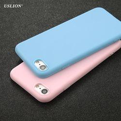 Caso del teléfono de uslion para el iPhone 7 6 6 s más 5 5S se simple color sólido ultrafino suave TPU Carcasas moda del color del caramelo capa trasera