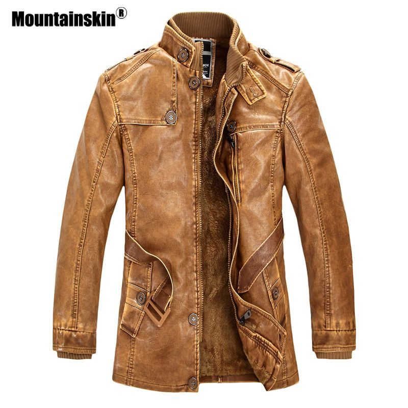 Mountainskin Winter Men's PU Jacket Motorcycle Coats Thick Fleece Warm Outerwear Slim Fit Male Leather Coat Brand Clothing SA557