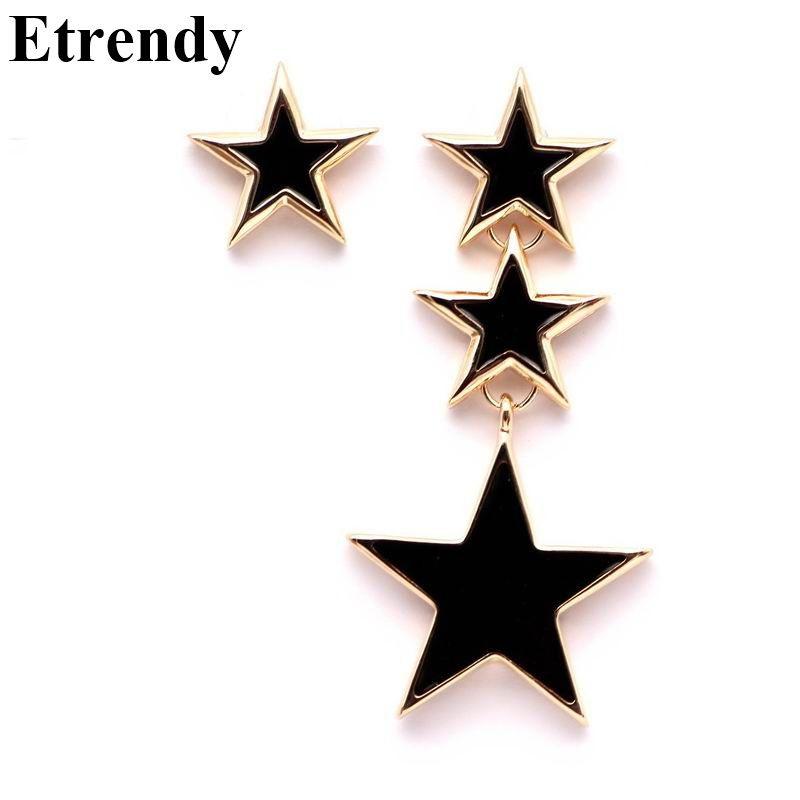 Declaración Diseño Ab Gran Estrella Pendientes Largos Para Las Mujeres de Moda Simple Blanco Rojo Negro Oído de La Joyería Bijoux