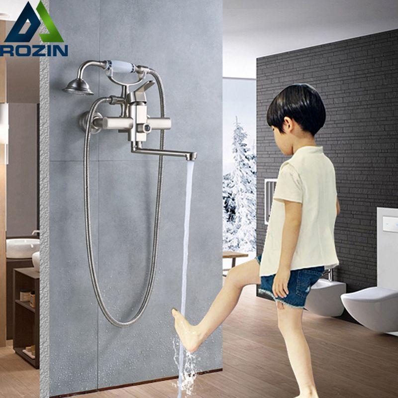 Wall Mounted Bathroom Tub Sink Faucet Single Lever Handheld Bath Shower Set Longer Nose Bathtub Mixers 360 Rotate Spout