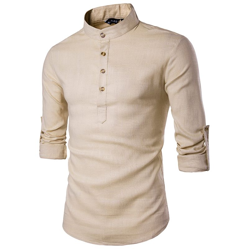 2019 décontracté col Mandarin respirant comfortable Style traditionnel chinois coton Polyester manches longues chemises EU taille