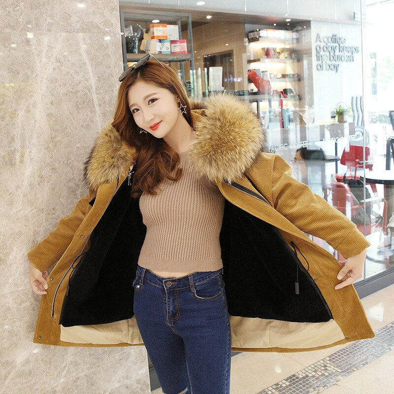 Large real raccoon dog fur collar hooded removable wool liner coats outerwear women lamb fur liner corduroy parkas 2 liner style