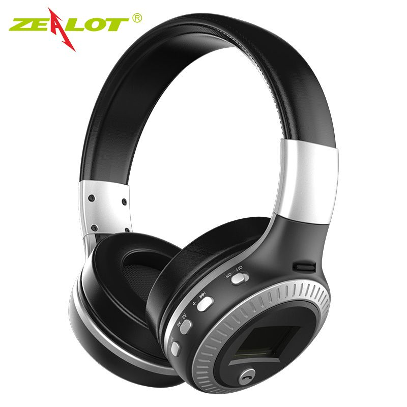 ZEALOT B19 Headphone LCD Display HiFi <font><b>Bass</b></font> Stereo Earphone Bluetooth Wireless Headset With Mic FM Radio TF Card Slot Headphones