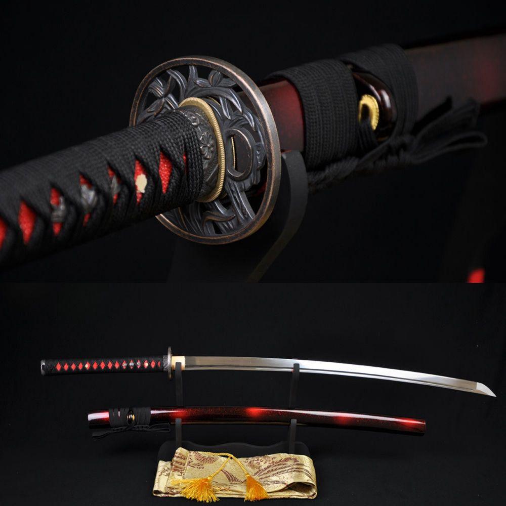 Sabre Katana samouraï japonais fait à la main 1060 acier à haute teneur en carbone lame pleine tang forte-personnalisé vrai Espadas Katanas bataille prêt