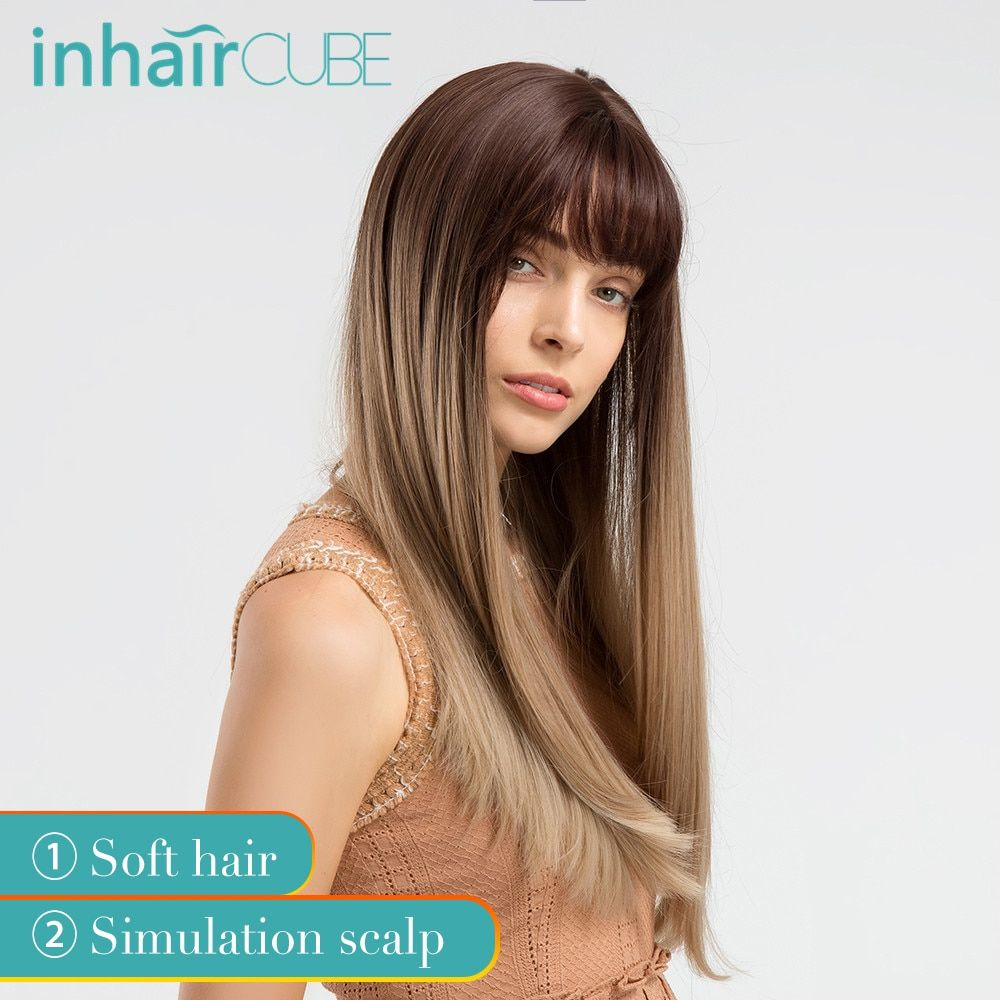 INHAIR CUBE 22 femmes perruques synthétiques avec frange brun Ombre cheveux longs raides réaliste Simulation cuir chevelu perruque naturel