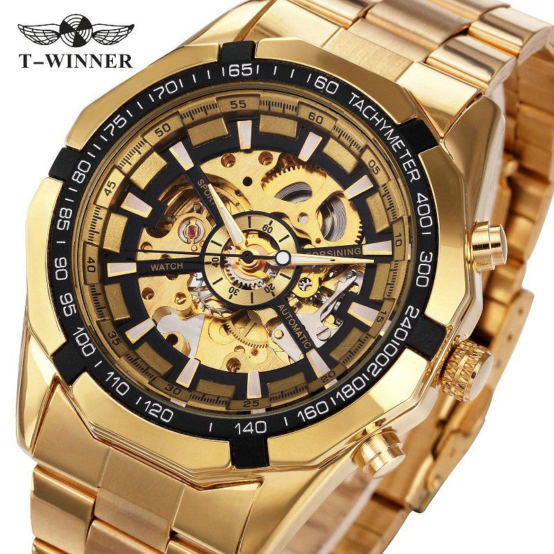 2017 New Golden Watches Top Luxury Brand Men's Sports Automatic Skeleton Man WINNER BEST SELLING Classic <font><b>Mechanical</b></font> Watches