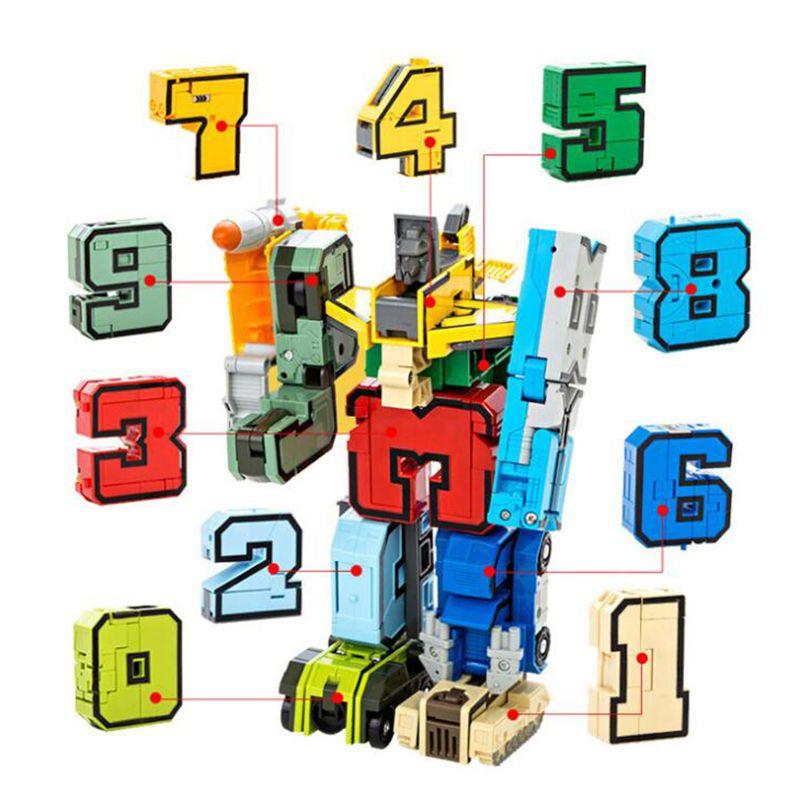 15 Pcs Creative Blocs Éducatifs Assemblage Blocs Figurine Transformation Nombre Robot Déformation Robot Jouet Pour Les Enfants