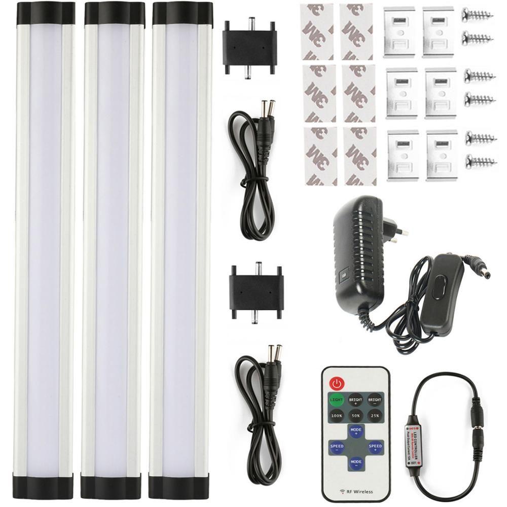 3 pièces/ensemble rigide rigide RF sans fil télécommande gradation sous les lumières du Cabinet barre de LED lumière claire couverture laiteuse choisi pour la cuisine
