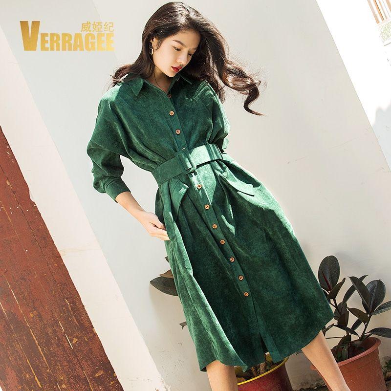 VERRAGEE Autumn Winter Long Shirt Dress Women 2018 Long Sleeve Green Blue Color Vintage Dress Pocket with Belt Vestido