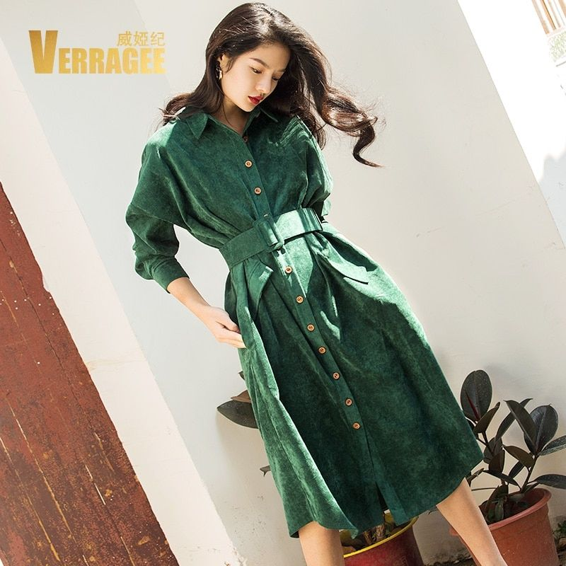 VERRAGEE Autumn Winter Long Shirt Dress Women 2018 Long Sleeve Green Blue Color Vintage Dress Pocket with Belt Vestido
