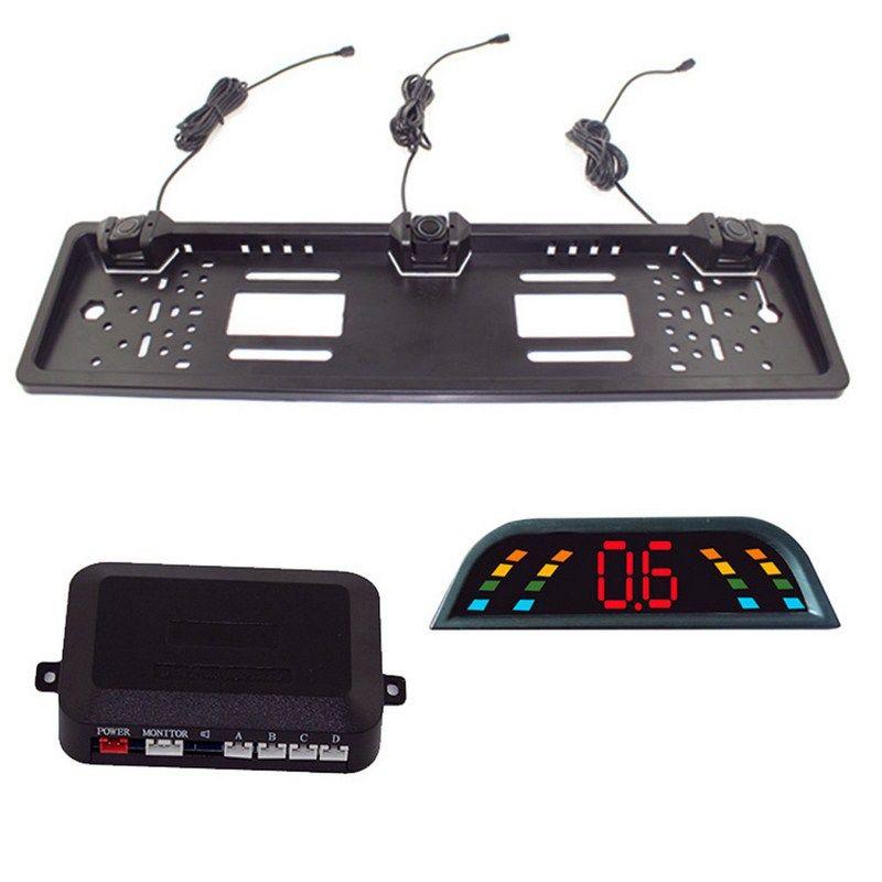Car Parking Sensor Kit Auto Reversing Radar European License Plate Camera Front Back Electromagnetic Monitor System 3 Sensors