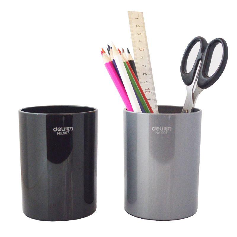 1 Unid PVC Pen Stand Titulares Ronda Tipo Simple Para negocio gris negro 2 colores dest deli papelería holder 80x125mm 907