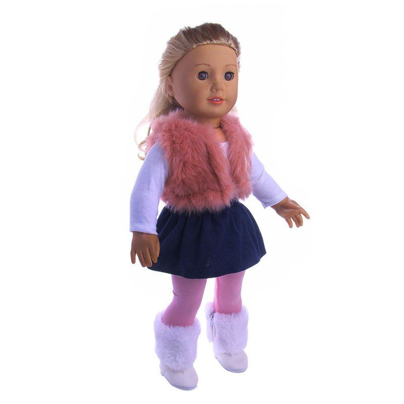 4Pcs/Set American Girl Doll Clothes Set Winter vest T-shirt Dress Legging For 18 Inch Our Generation Doll Accessories Suit Set
