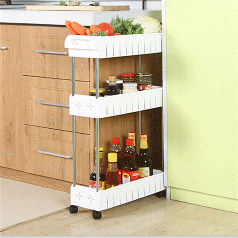 Amovible étagère de rangement Étagère avec Roues Salle De Bains/Cuisine/Réfrigérateur Côté Étagères Multi-couche acier inoxydable Maison Organisateur