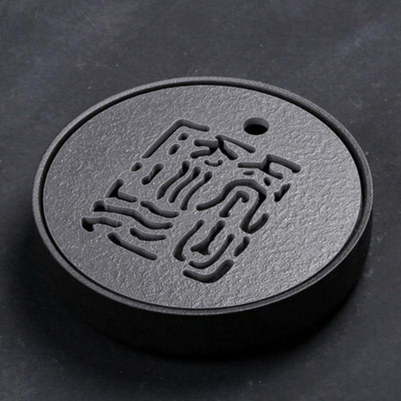 Japanischen Stil Schwarzen Stein Keramik Tee-tablett 25,5*5,5 cm Kung Fu Tee Bord Umweltfreundliche Teekanne Handwerk Tablett Tee zeremonie Tisch