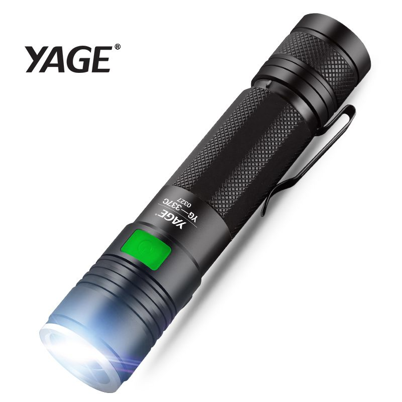 YAGE Q5 2000LM Aluminum Zoomable 5-Modes CREE LED USB Clip Flashlight Torch Light with 18650 flashlight convoy for car pen light