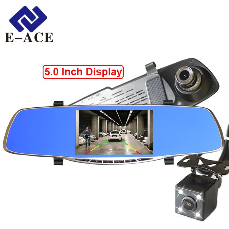 E-ACE Full HD 1080P Car Dvr Camera Avtoregistrator 5 Inch Rearview Mirror Digital Video Recorder Dual Lens Registrar Camcorder