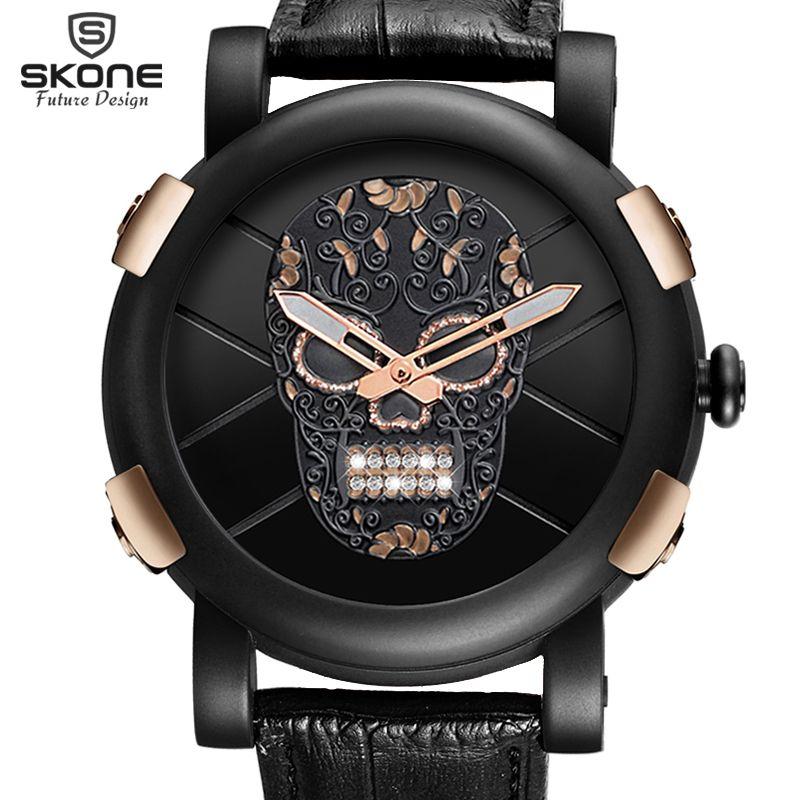 Hot Dropship Unique SKONE Pirate Skeleton Skull Quartz Men Watches Luxury Waterproof Leather Men Sports Watch Relogio Masculino