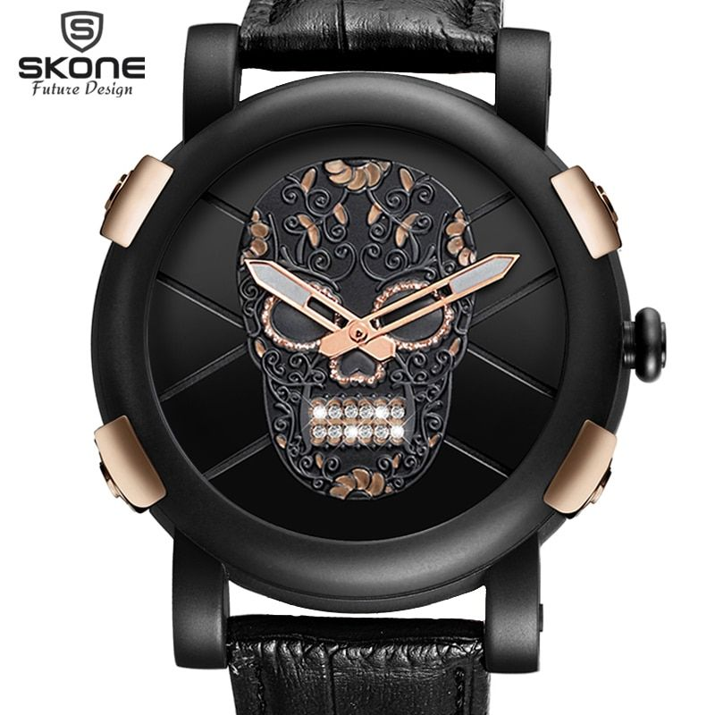 Hot Dropship Unique SKONE Pirate Skeleton Skull Quartz Men Watches Luxury Waterproof Leather Men Sports Watch Relogio Masculino