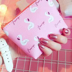 1 unid popular mujeres Flamingo patrón de fresa monedero zip bolsa niño niña niño mini cartera pu cuero bolso portátil