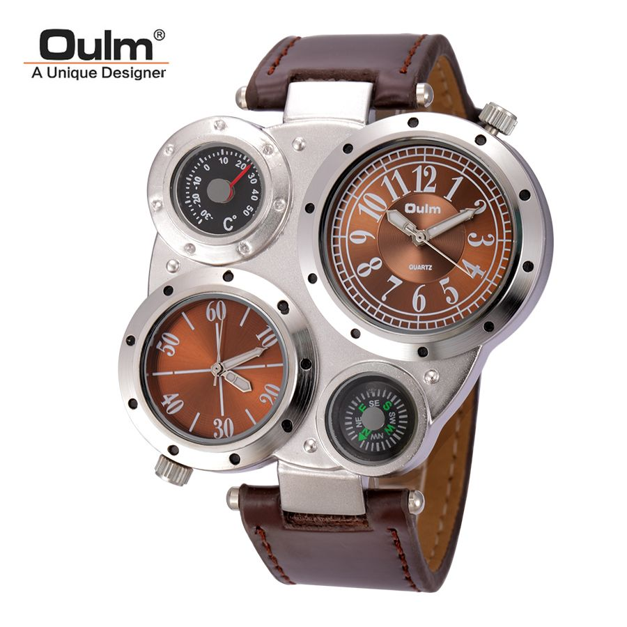 Oulm Man Watches <font><b>Antique</b></font> Male Quartz-Watch Top Brand Luxury Sport Wristwatch Men Casual Leather Strap relojes hombre