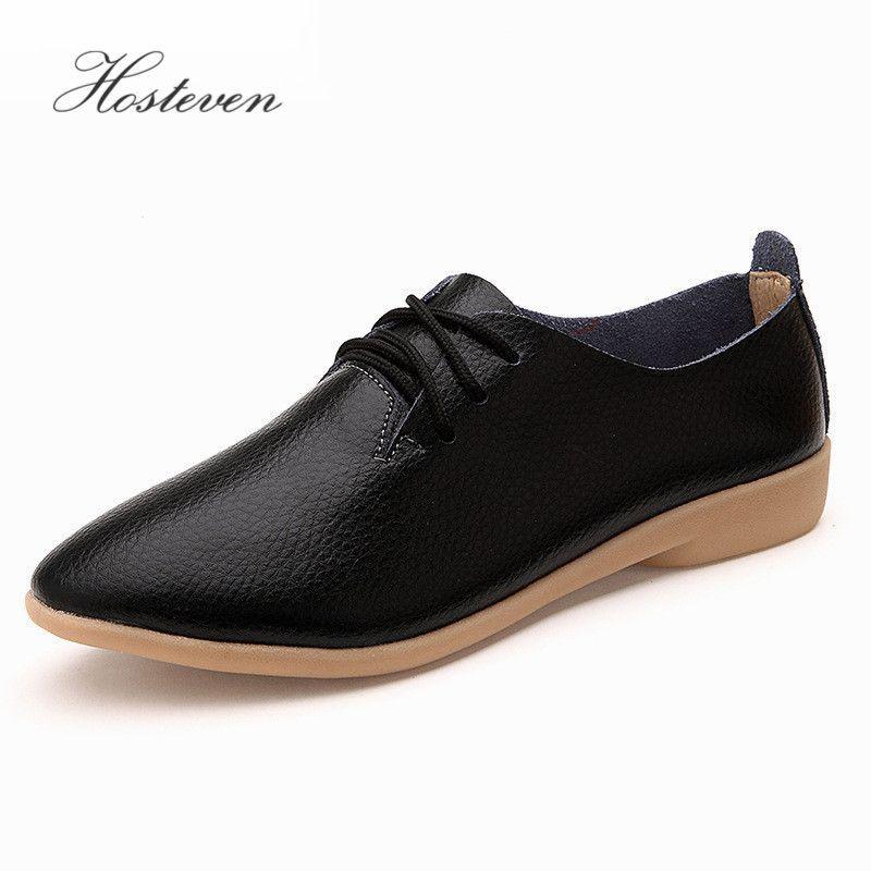 Women' Shoes Casual Ballet Soft Genuine Leather Loafers Slip On Woman Flats Shoe Flexible Peas Footwear Large Women Size