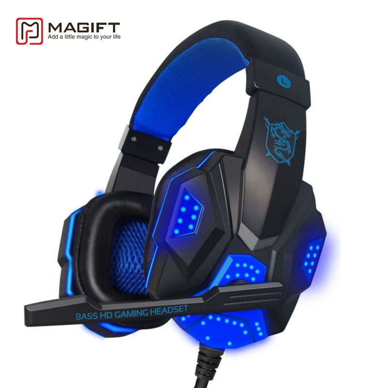 Magift <font><b>Sound</b></font> Effect Gaming Headset Stereo Headphones with Mic for Computer PC Laptop Gamer with LED Light Over Ear Glowing