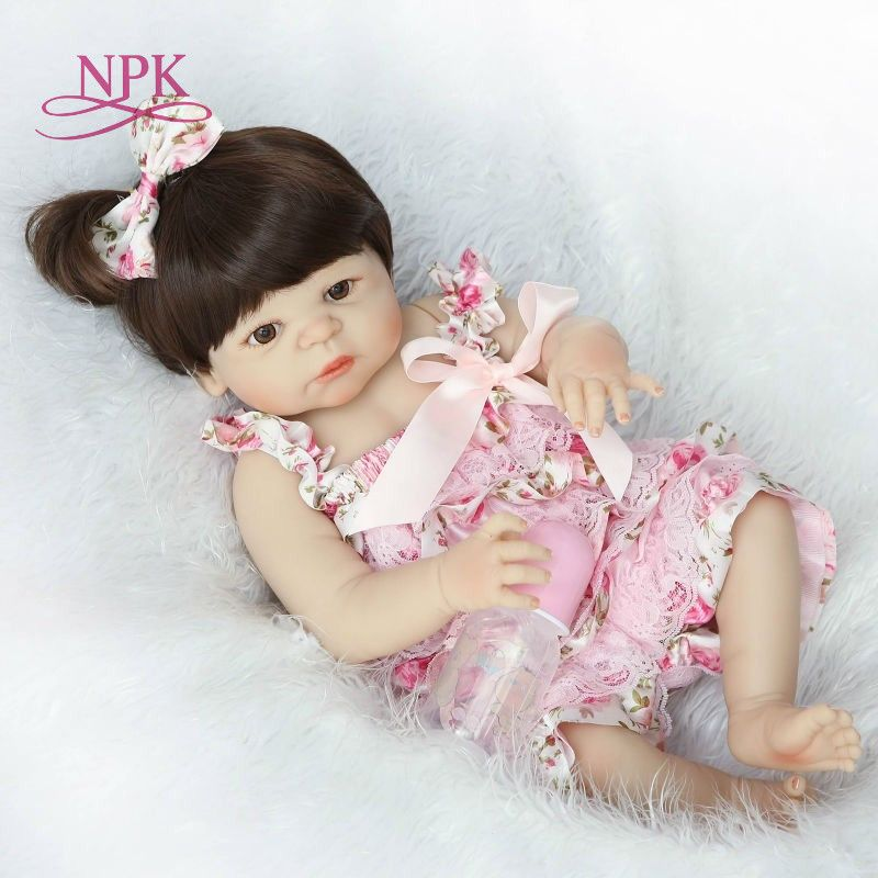NPK Real 56CM Full Body SIlicone Girl Reborn Babies Doll Bath Toy Lifelike Newborn Princess Baby Doll Bonecas Bebe Reborn Menina