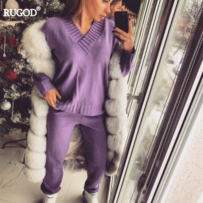 Rugod 2018 Fashion 2 Two Piece Sets Women Solid Knitted Top and Pants Suits Sexy V-neck Long Sleeve Pullover+pants Tracksuit
