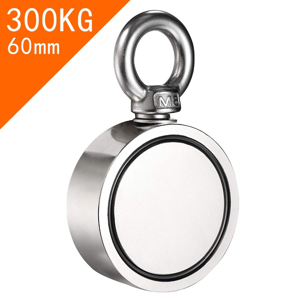 Double Side Magnet Fishing,Combined 300Kg Pulling Force,60Mm Diameter,Super Strong Round Neodymium Fishing Magnet With Eyebolt
