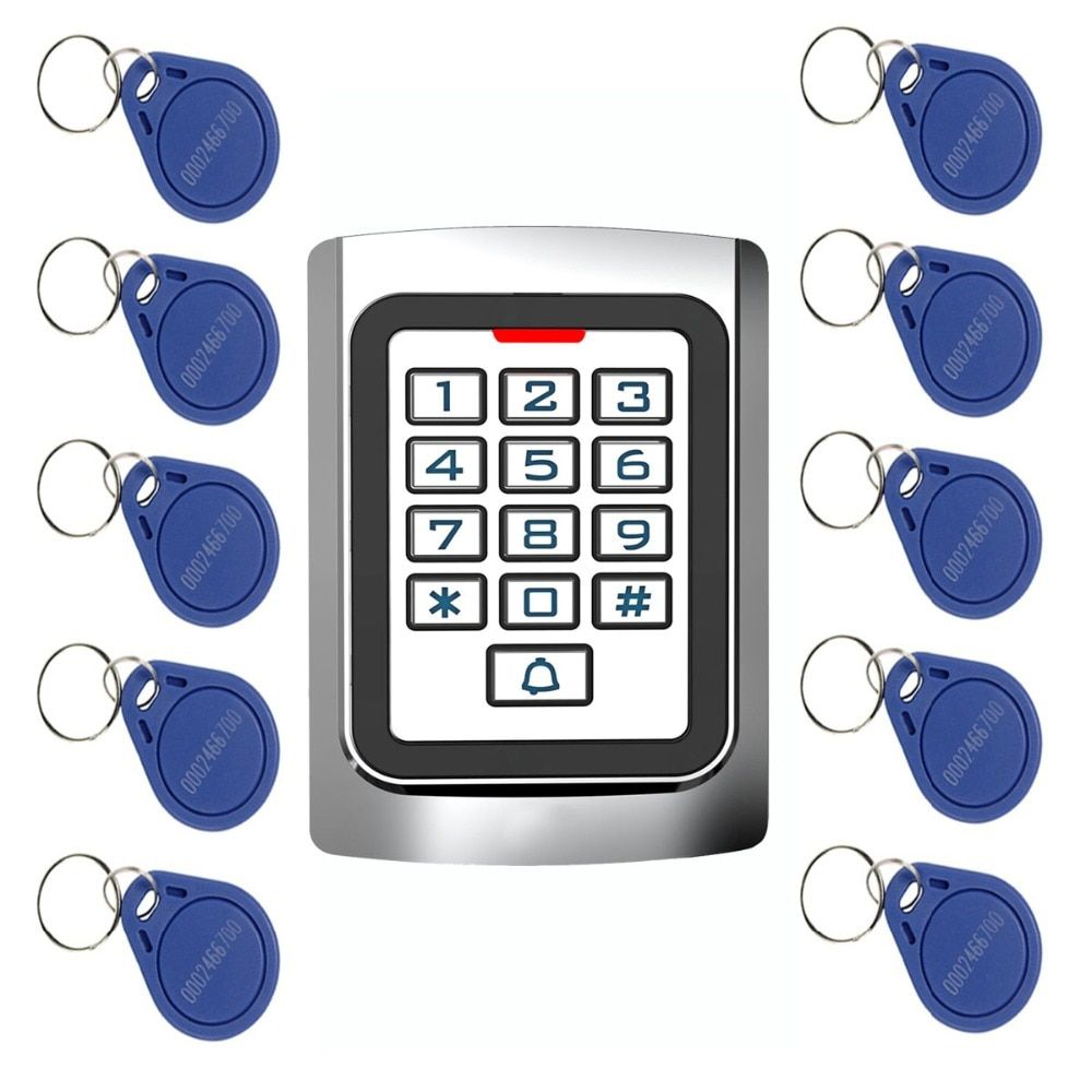 10pcs RFID Cards + RFID 125Khz EM Card Door Access Control Metal case Silicon Keypad Security Entry F1331