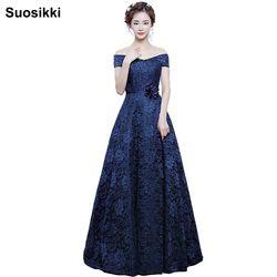 Suosikki A-line Boat Leher Elegan Renda Gaun Malam Panjang Prom party Gown 2017 Robe de soiree